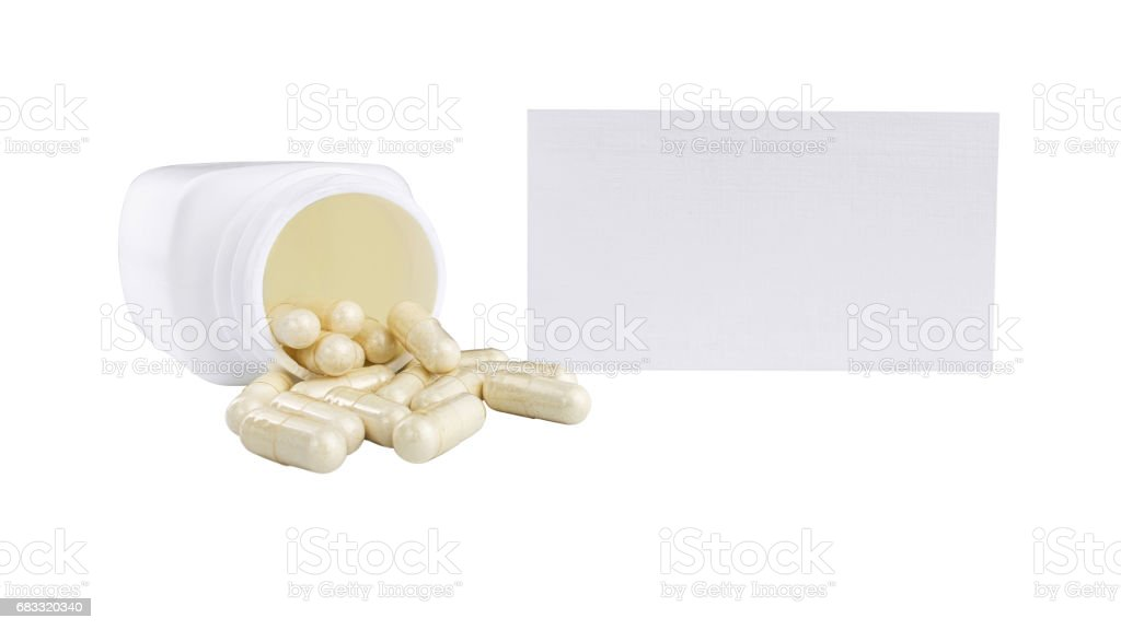 Capsules of glucosamine chondroitin, healthy supplement pills, white container and paper card isolated on white background royalty free stockfoto