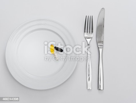 istock Capsules on white plate 466244398