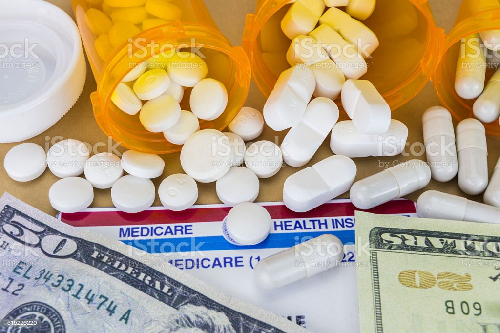 capsules up ticket dollar, concept of health copay stock photo