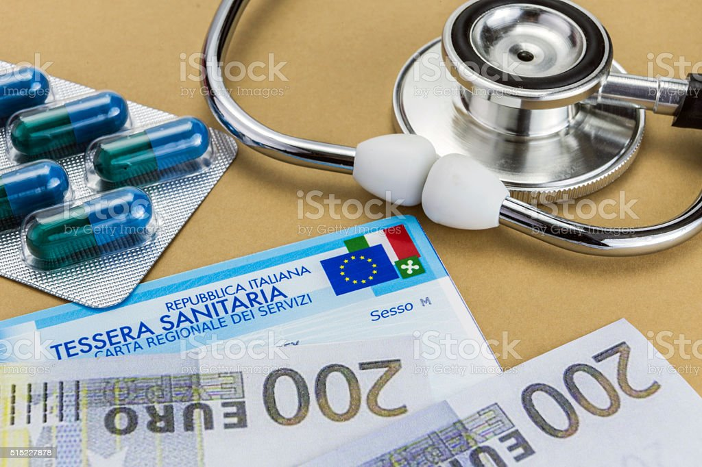 capsules up ticket euro, concept of health copay stock photo