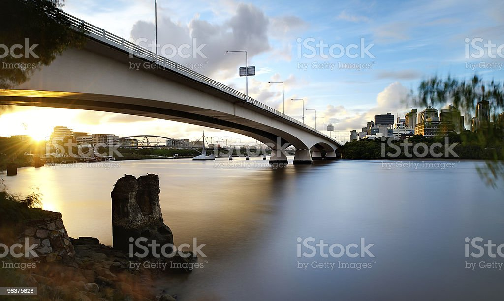 Ponte Captain Cook a Brisbane città tramonto foto stock royalty-free