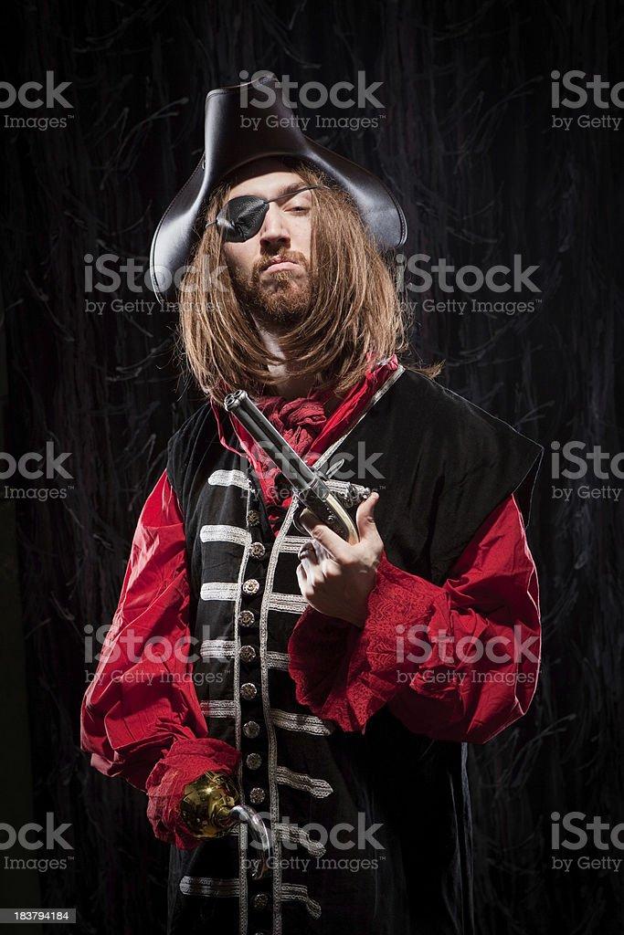 Captain Hook Pirate Buccaneer Man flintlock pistol historical garb stock photo