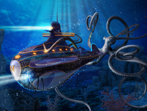 captain nemo nautilus submarine attack - nautilus stock pictures, royalty-free photos & images