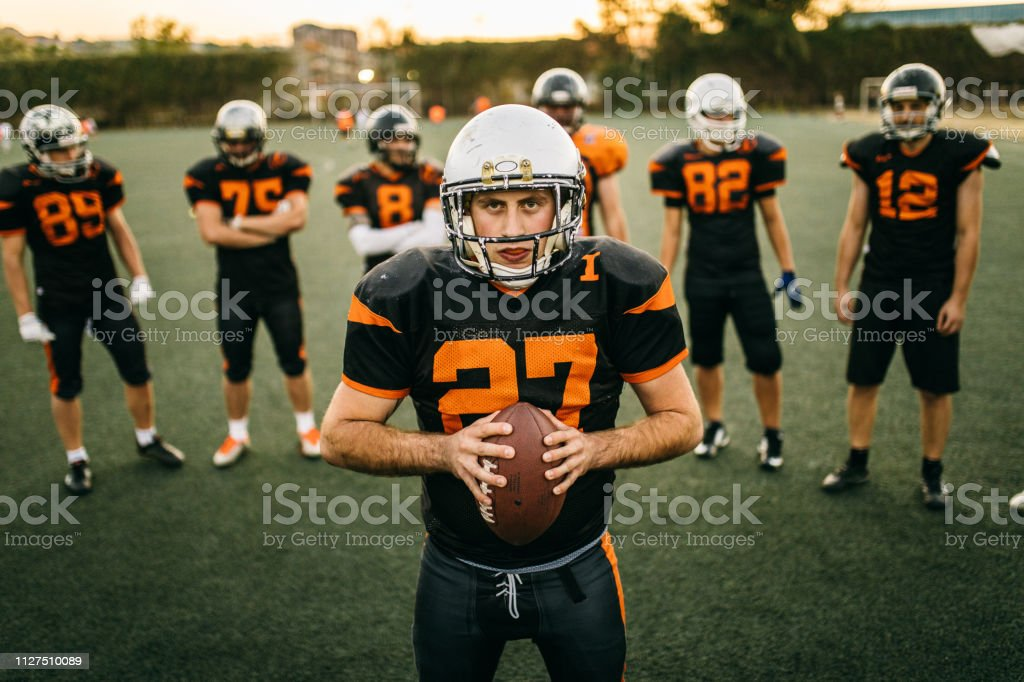 Captain of American football team stock photo