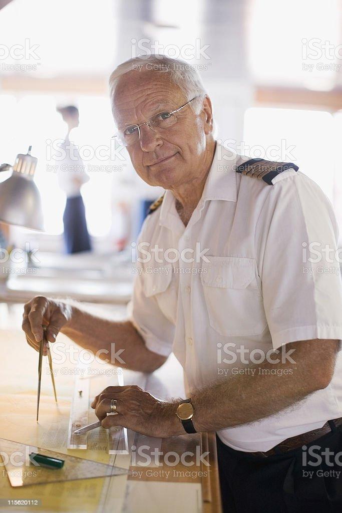 Captain setting the compasses stock photo