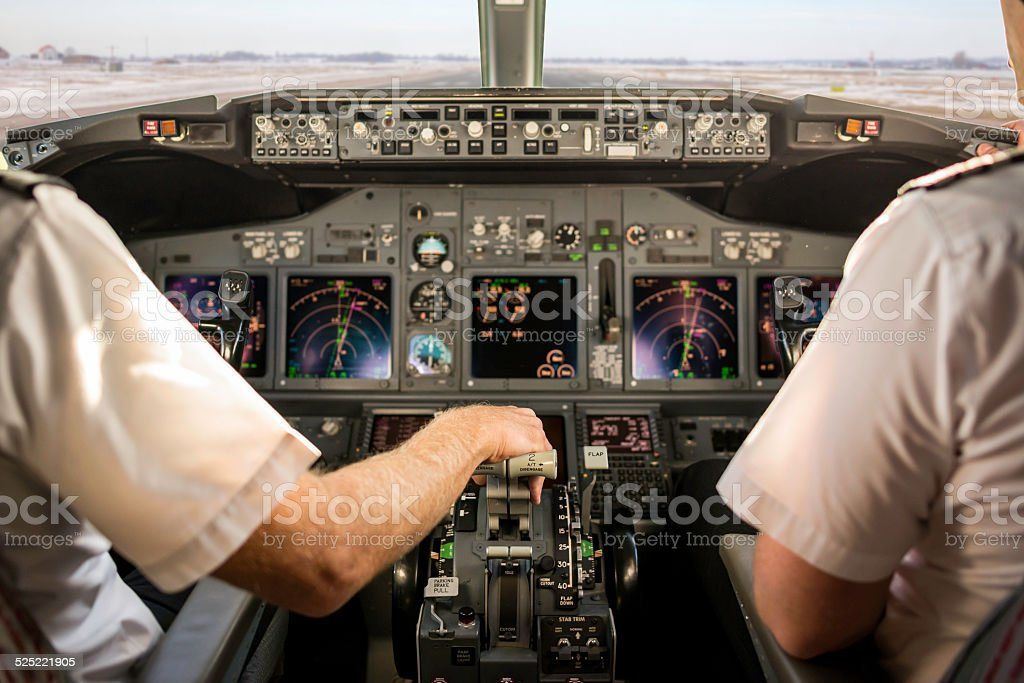 Captain taking off stock photo