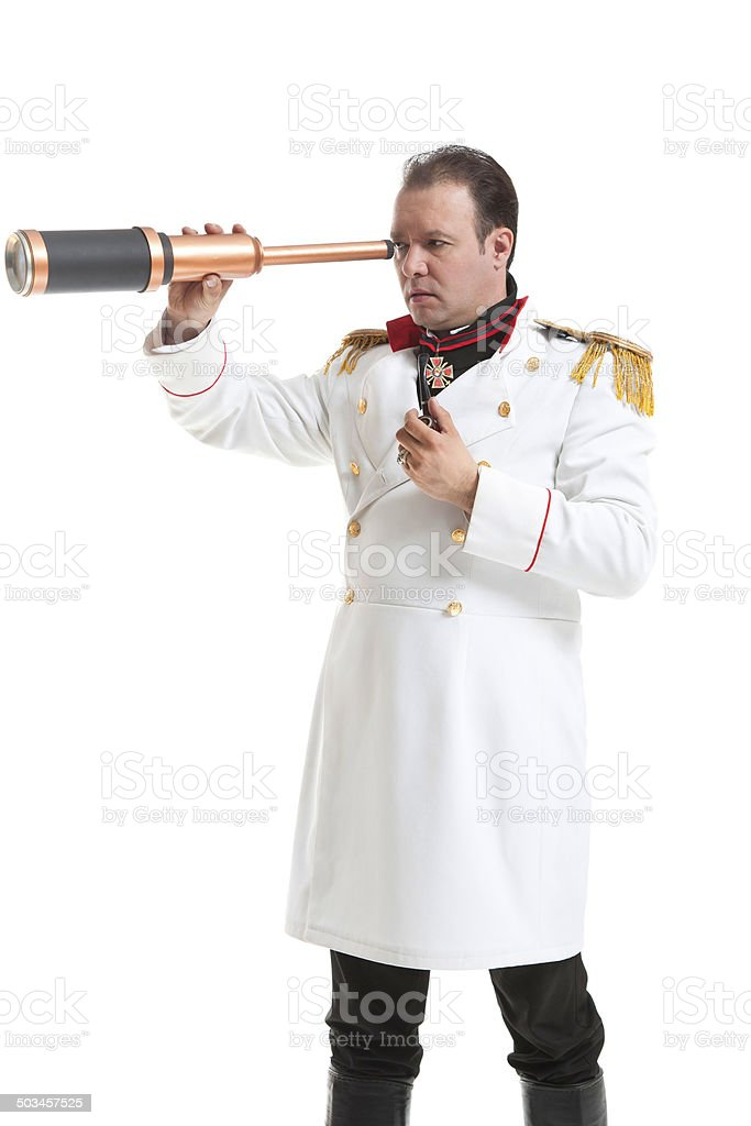 Captain with spyglass stock photo