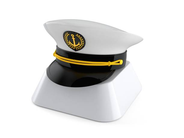 Captain's hat on computer key Captain's hat on computer key isolated on white background. 3d illustration sailor hat stock pictures, royalty-free photos & images