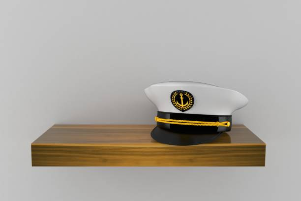 Captain's hat on wooden shelf Captain's hat on wooden shelf isolated on grey background. 3d illustration sailor hat stock pictures, royalty-free photos & images