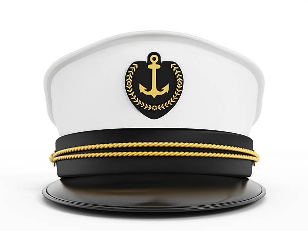 Captain's hat Sea captain's hat decorated with golden rope, anchor and laurels badge. sailor hat stock pictures, royalty-free photos & images