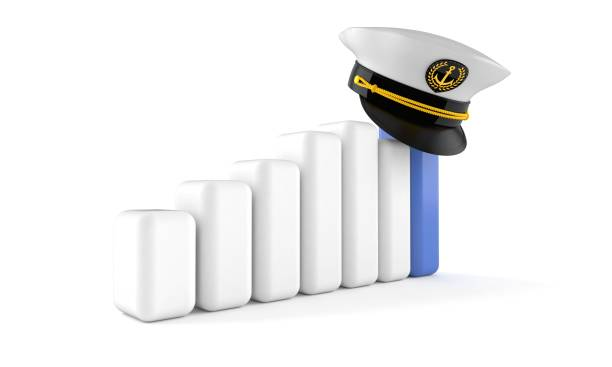 Captain's hat with chart Captain's hat with chart isolated on white background sailor hat stock pictures, royalty-free photos & images