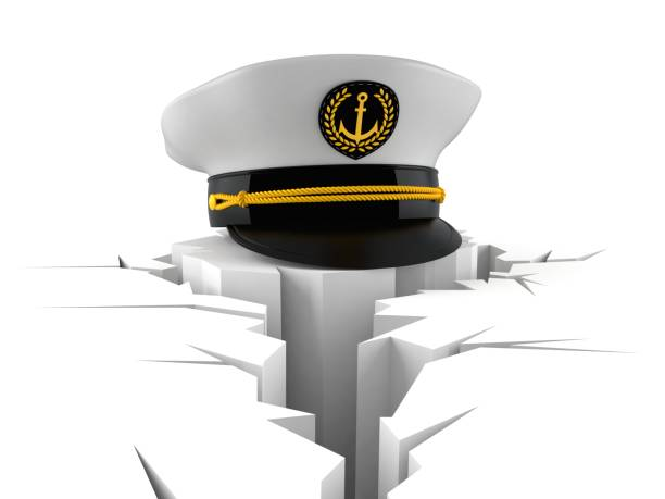 Captain's hat with cracked hole Captain's hat with cracked hole isolated on white background. 3d illustration sailor hat stock pictures, royalty-free photos & images