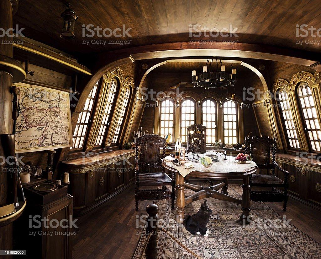 Captain's room in caravel stock photo