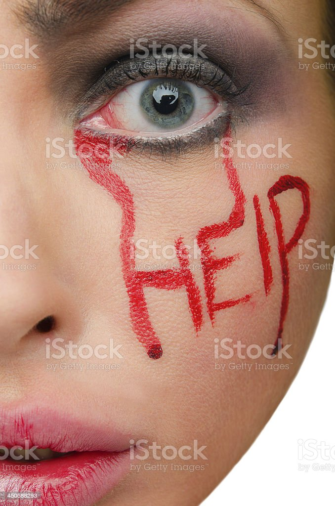 Caption help blood on the woman's face stock photo