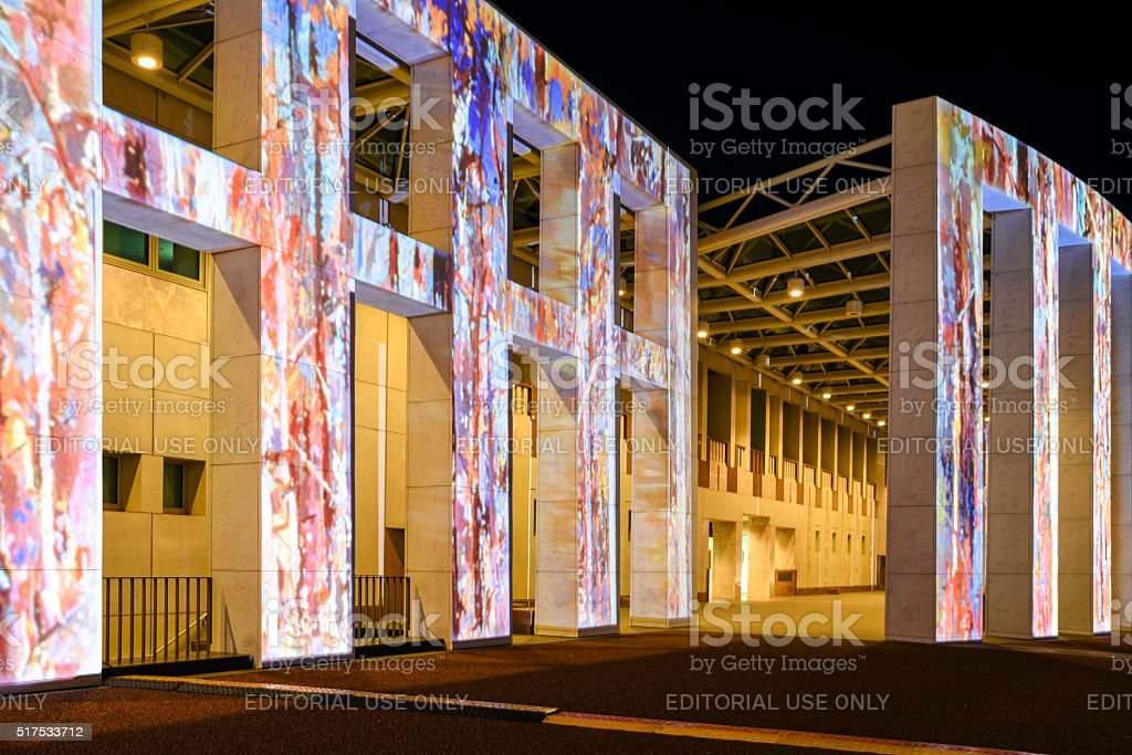 Captivating architectural projections on the Parliament House in Canberra. stock photo