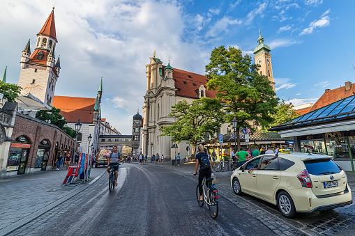 Capture of square Vikualienmarkt and Heilig-Geist Kirche in Munich.