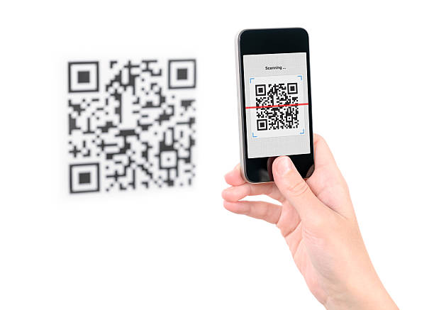 Capture QR code on mobile phone stock photo
