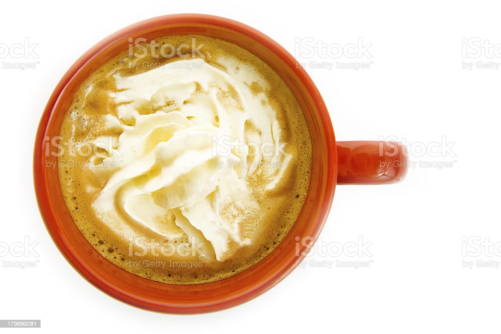 capuccino in red cup with heart on white stock photo