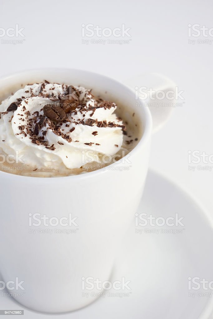 Capuccino in white coffee cup royalty-free stock photo