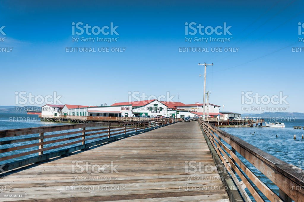 Car accessible pier on Astoria Oregon waterfront stock photo