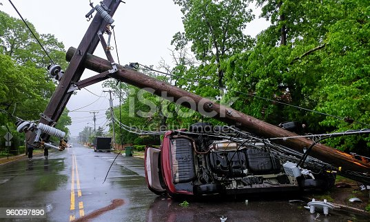 istock Car accident after a severe storm with crash electric pole 960097890