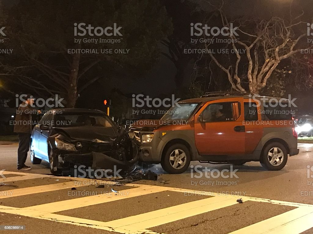 Car accident at Sunset BLVD of San Francisco, CA stock photo