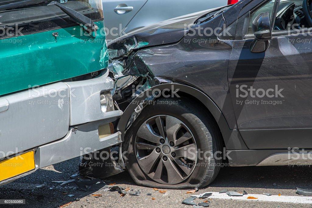 Car accident, bumper to bumper stock photo