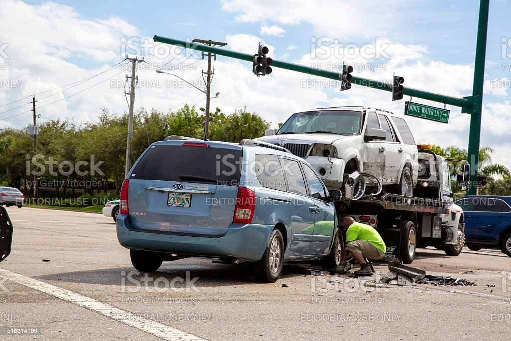 Car accident in Boynton Beach, Florida stock photo