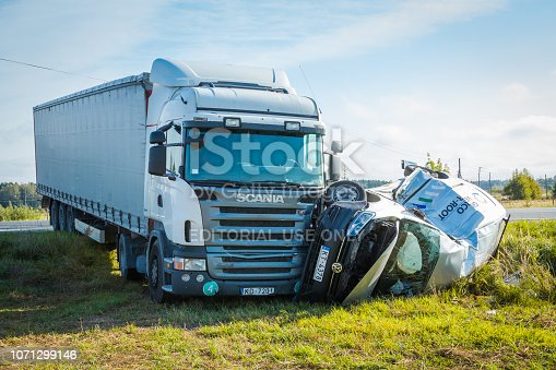 Car accident on a road in 20th of September 2018, car after a collision with a heavy truck, next to Inchukalns, Latvia, transportation background