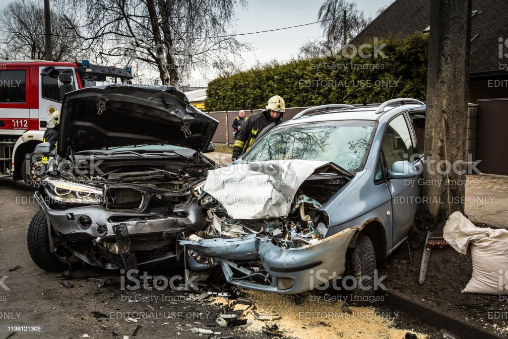 Car accident on a road in March 21 cars after frontal collision in...