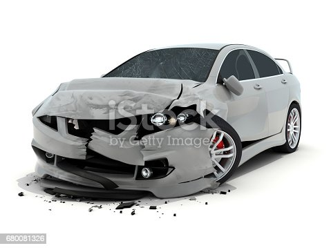 istock Car accident on white background 680081326