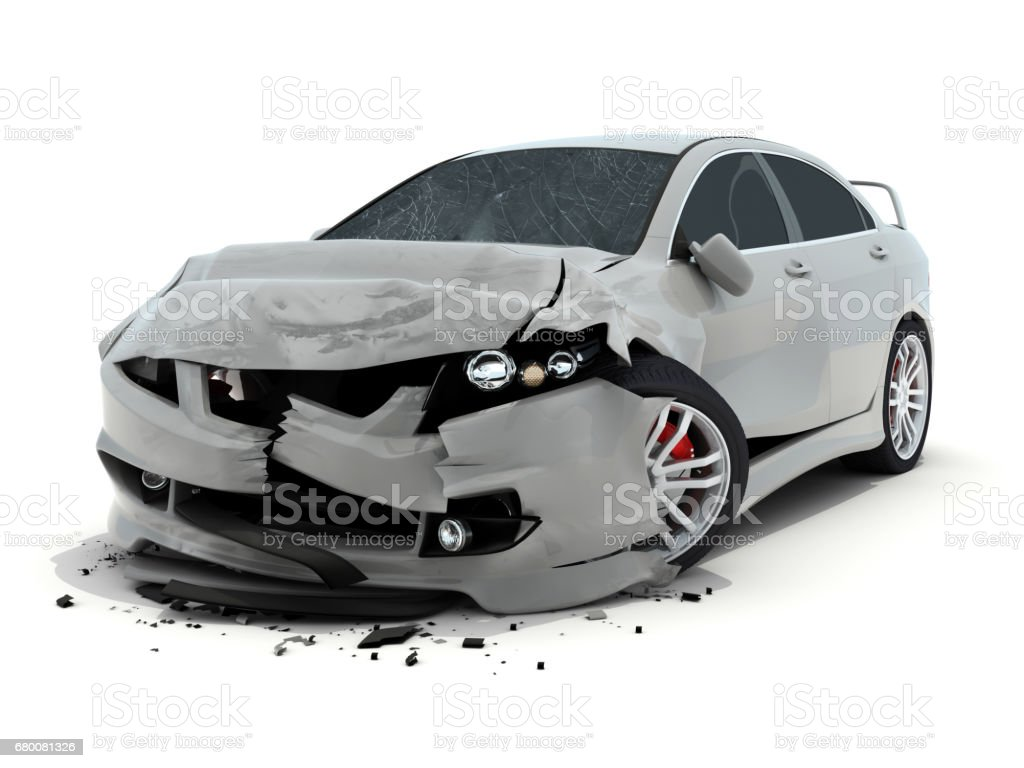 Car accident on white background stock photo