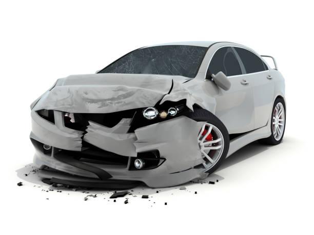 Accidente de coche en fondo blanco - foto de stock