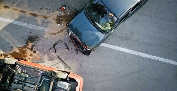Car accident Elevated view of broken cars after accident. misfortune stock pictures, royalty-free photos & images
