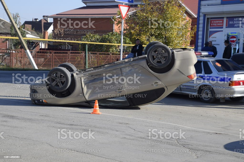 Slavyansk-on-Kuban, Russia - October 30, 2018: Car accident at the...