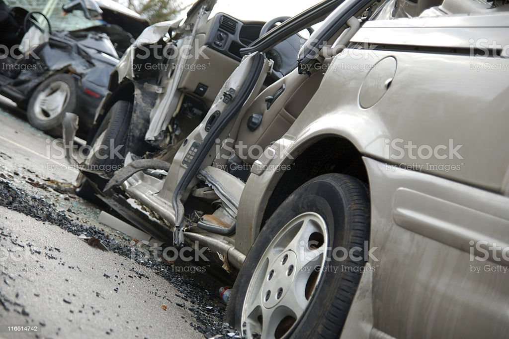 Car accident with broken glass stock photo