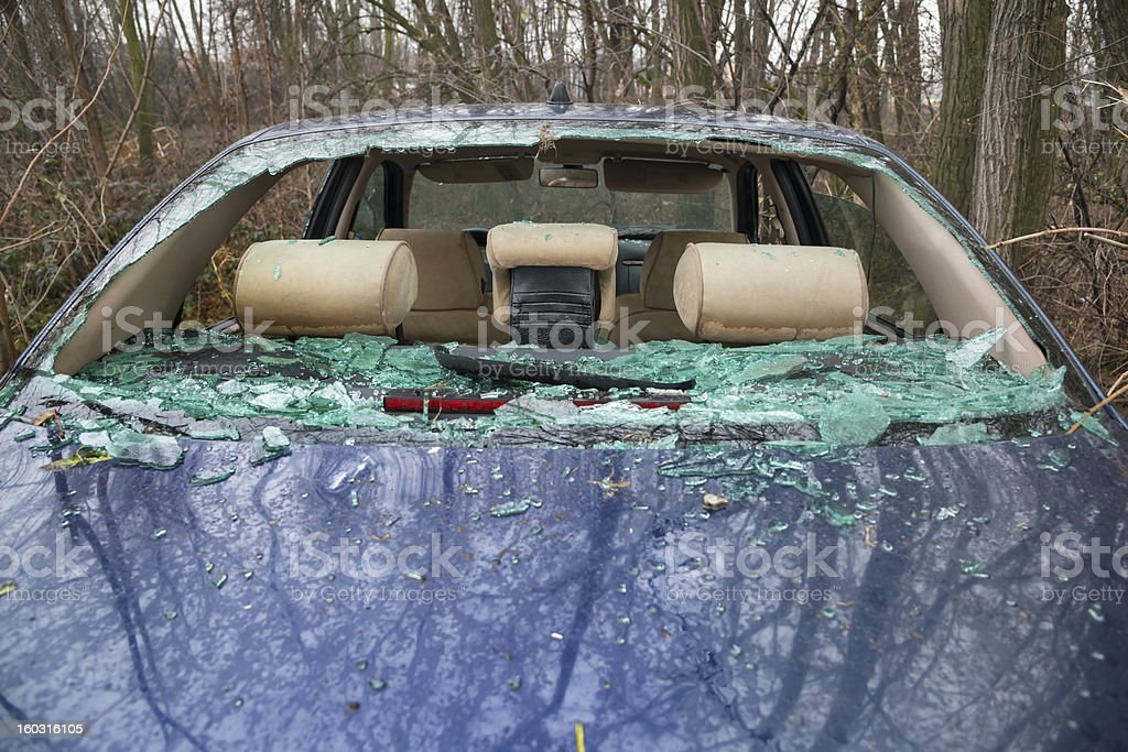 car accident with destroyed glass royalty-free stock photo