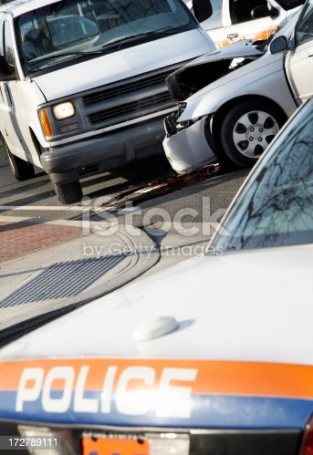 Car crashes with van. Police on the scene.Please Also See: