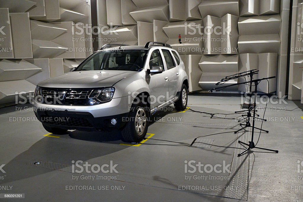 Car acoustic tests in a special laboratory stock photo