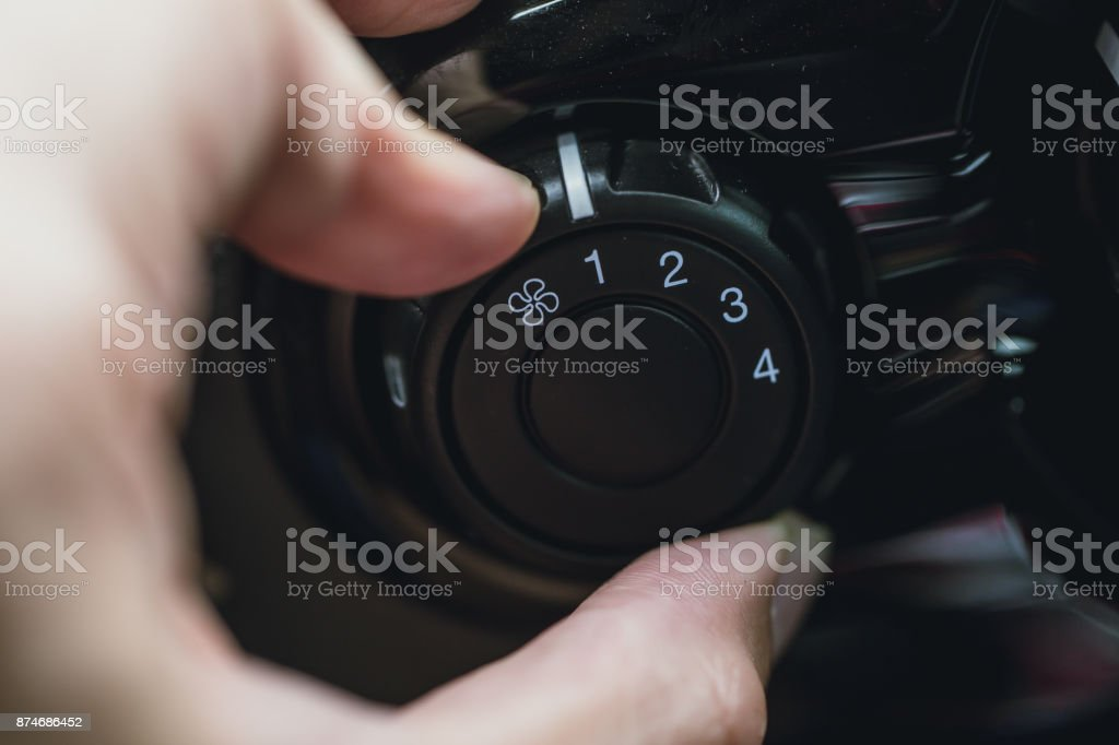 car air conditional fan wind speed adjust cooling stock photo