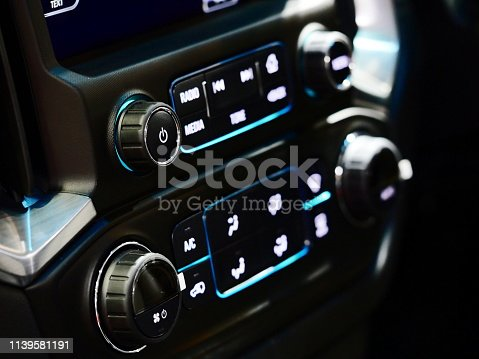 istock Car air conditioner and audio 1139581191