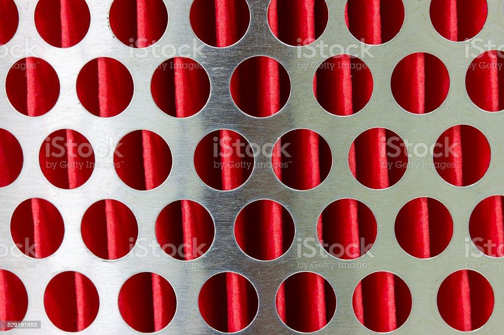 car air filter in a metal crate stock photo