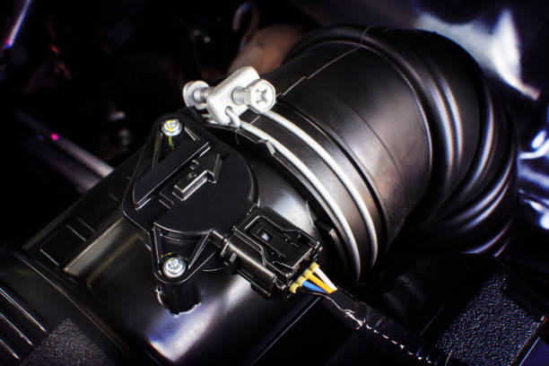 Car air intake rubber duct with air sensor. Car air intake rubber duct with air sensor of engine. sensor stock pictures, royalty-free photos & images