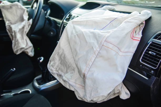 Car airbag has worked with a shallow depth of field stock photo