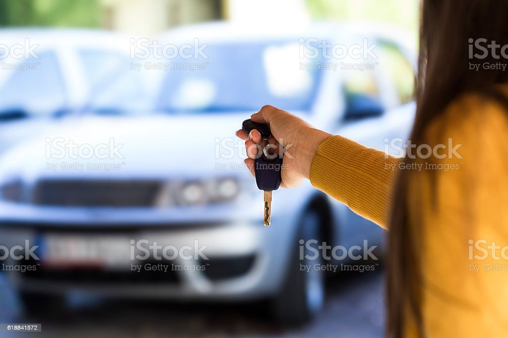 Car alarm activating stock photo