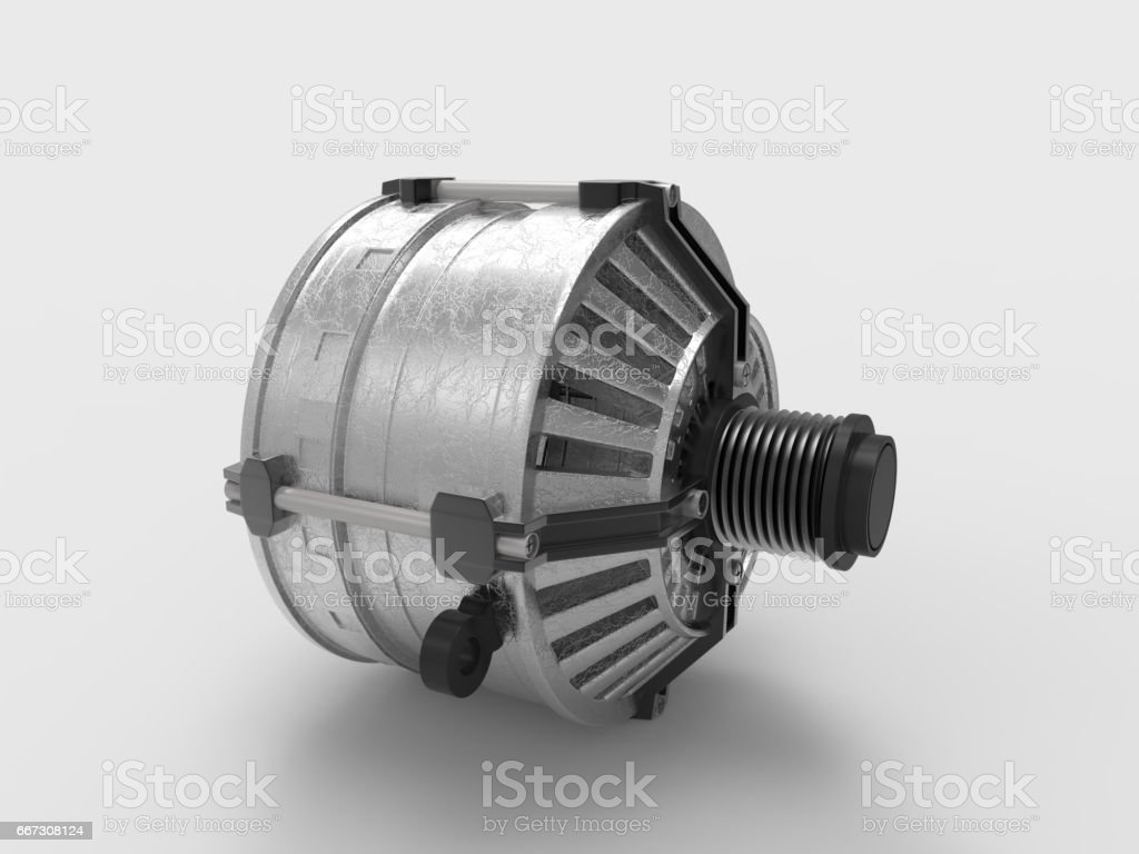 Car alternator isolated on a white background. 3D rendering. stock photo