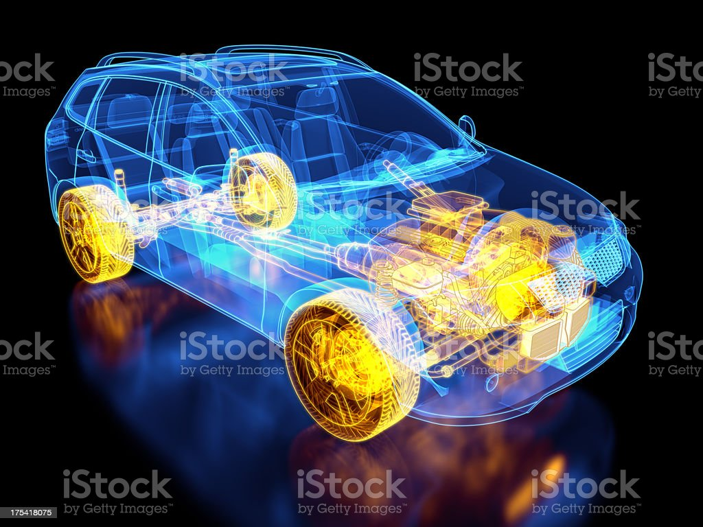 SUV Car and chassis X-ray / Blueprint royalty-free stock photo
