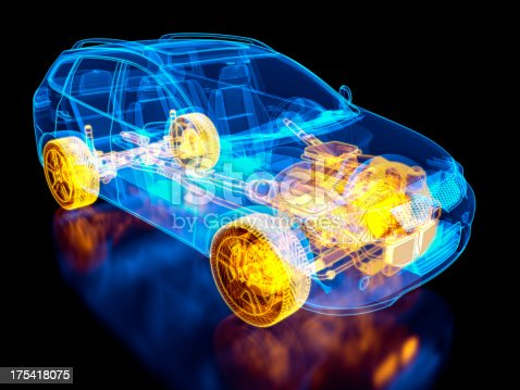 istock SUV Car and chassis X-ray / Blueprint 175418075