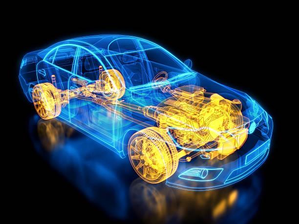 Carro e chassis raio-X/modelo - foto de acervo