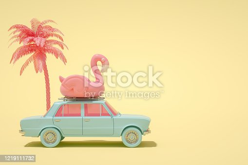 istock 3D Car and Flamingo, Minimal Summer and Travel Concept 1219111732